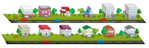 Houses Clipart Road Trees